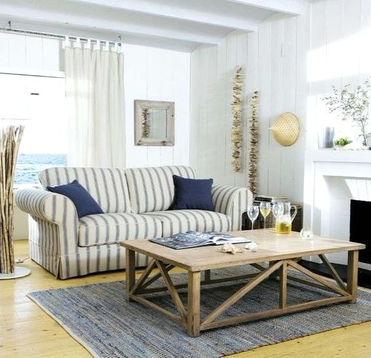 Ticking Stripe Sofa Couch Living Room Decor Idea