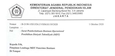 Daftar Nama Madin  Penerima Bantuan Operasional  Pendidikan AMadin Takmiliyah