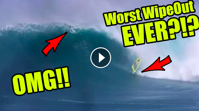 Worst Wipeout at JAWS EVER Surfer and Windsurfer - Adam Warchol