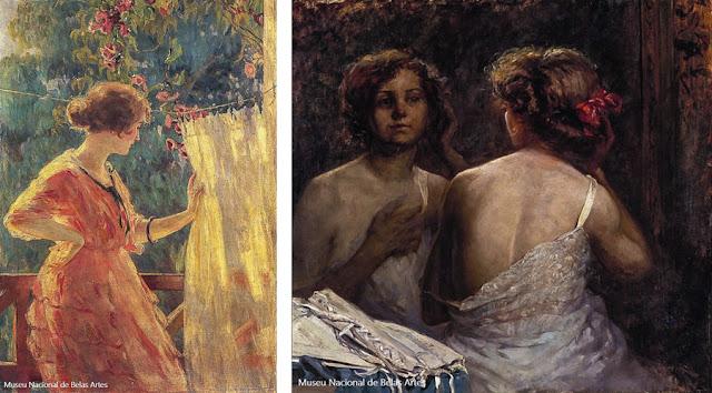 """""""Dia de Verão"""" (1920), de Georgina Albuquerque, e """"Vaidade"""" (1913), de Angelina Agostini"""