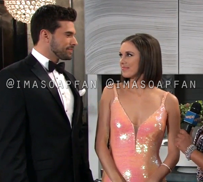 Willow Tait, Katelyn MacMullen, Harrison Chase, Josh Swickard, Coral Pink Sequin Gown, Nurses Ball, General Hospital, GH