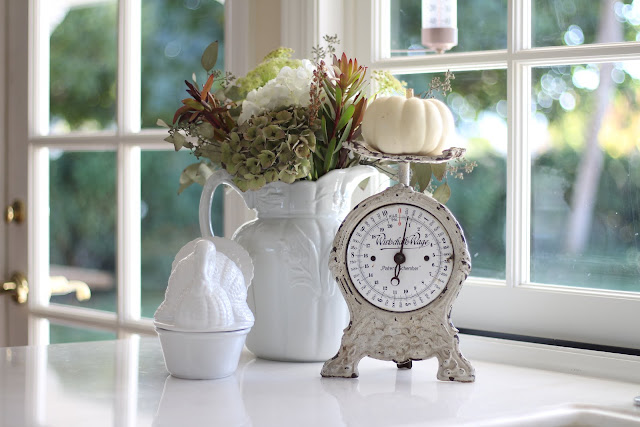 neutral fall decor white ironstone vintage scale and hydrangeas