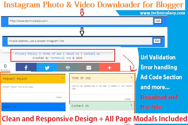Blogger Instagram Photo and Video Downloader Script