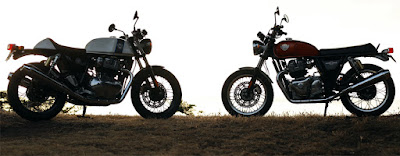 Two versions of the new Royal Enfield 650 twins wheel to wheel.