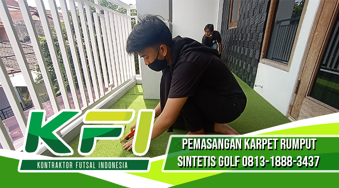 pemasangan karper rumput sintetis golf jakarta