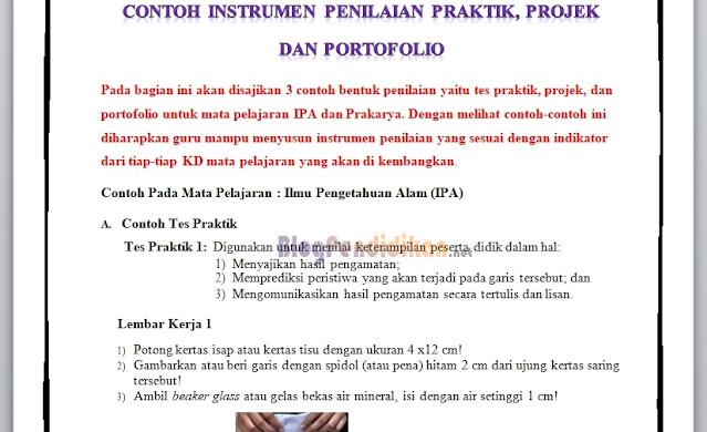 Contoh Instrumen Penilaian Praktik, Projek dan Portofolio