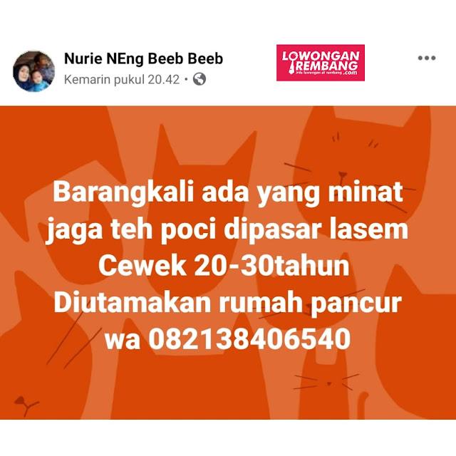 Lowongan Kerja Karyawati Teh Poci Pasar Lasem Rembang