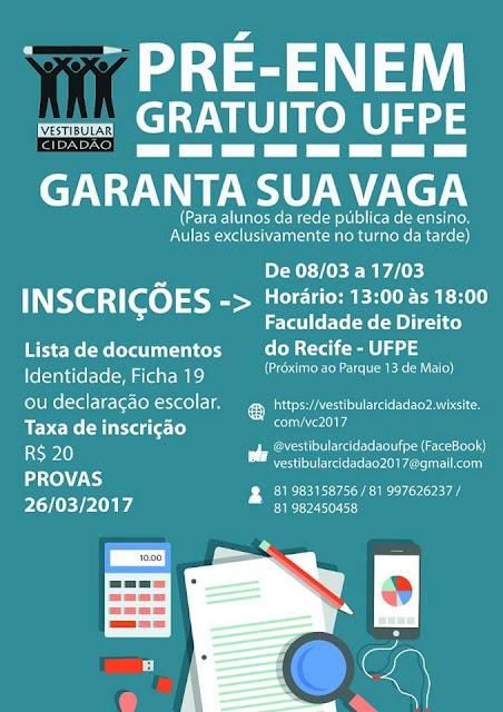 De 08/03 a 17/03 das 13 às 18h, Faculdade de Direito do Recife