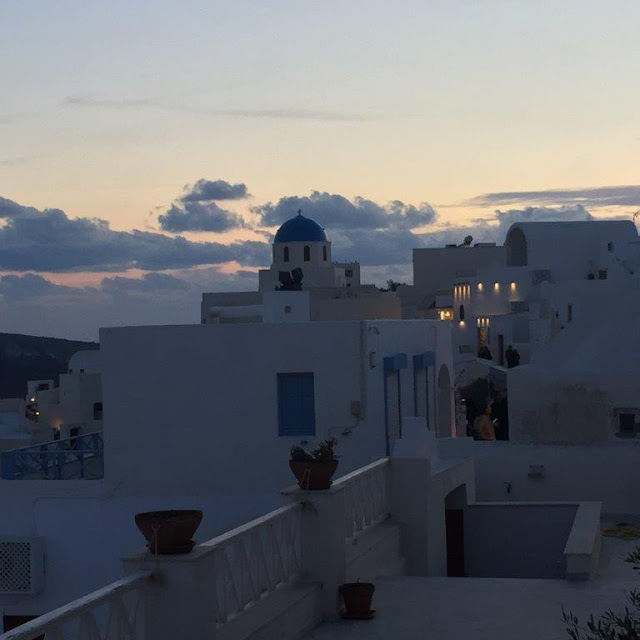 Sun setting over Santorini