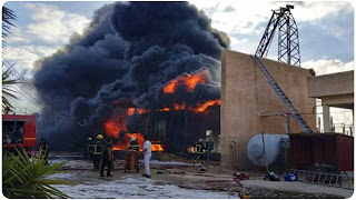 القيروان : اندلاع حريق هائل بمصنع ألياف الجبس