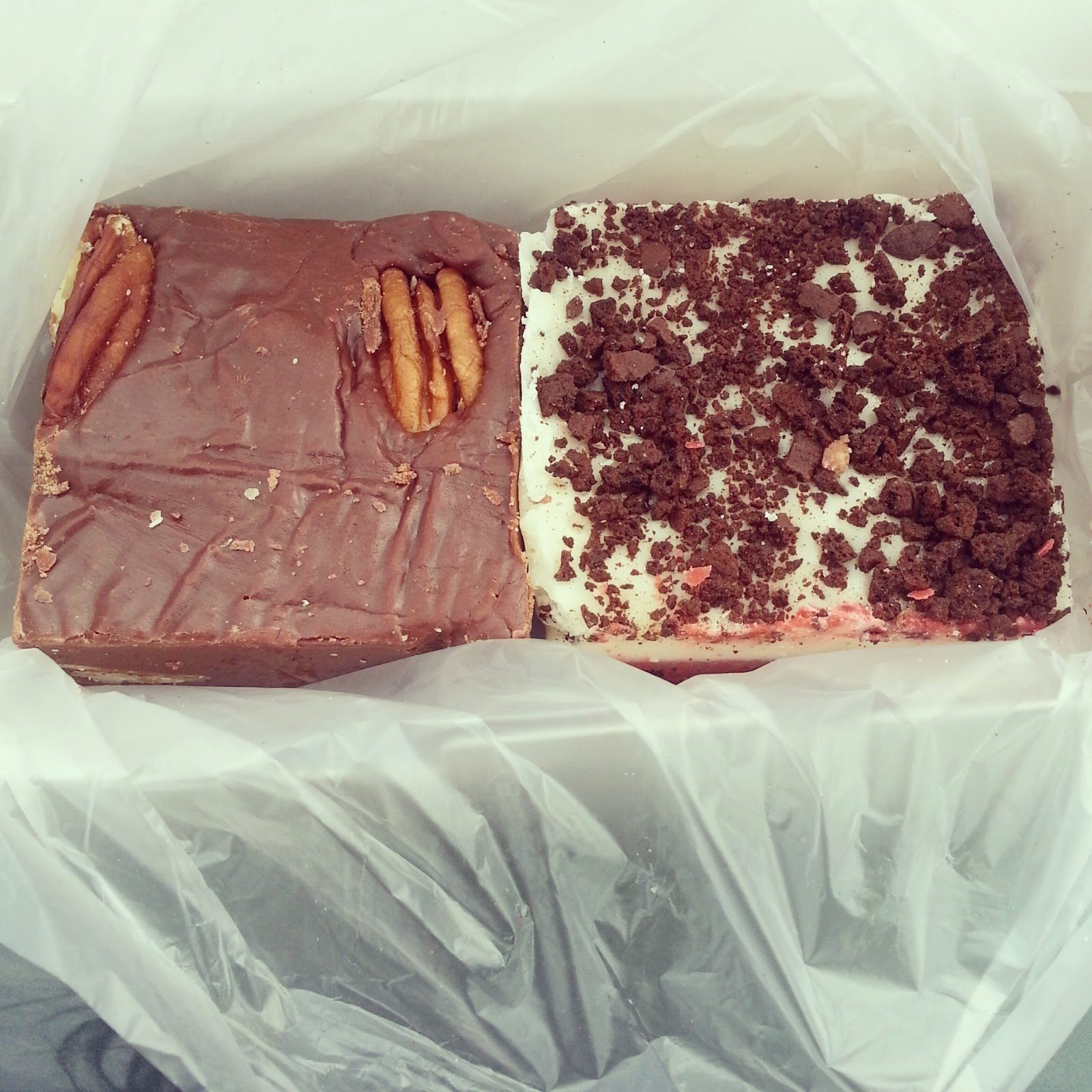 pecan fudge and red velvet fudge from buc-ee's