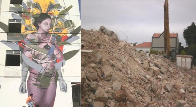 Mural de Bosoletti em Cascais destruído