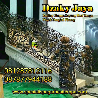 Contoh railing tangga tempa klasik pada proyek railing besi tempa Bangka.