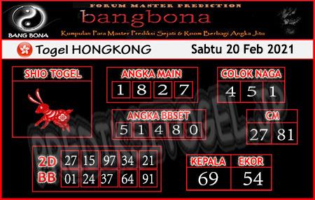 Prediksi Bangbona HK Sabtu 20 Februari 2021