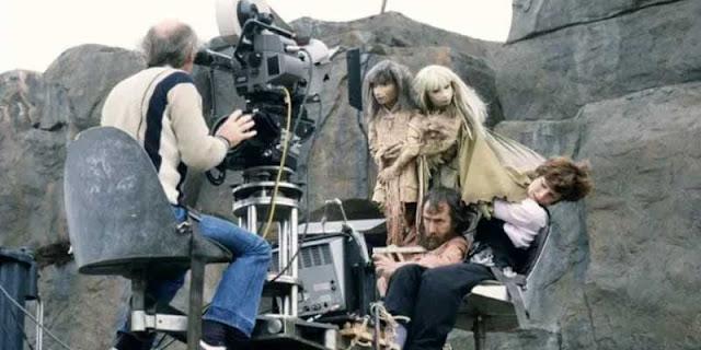 Jim Henson en el rodaje de 'Cristal Oscuro'