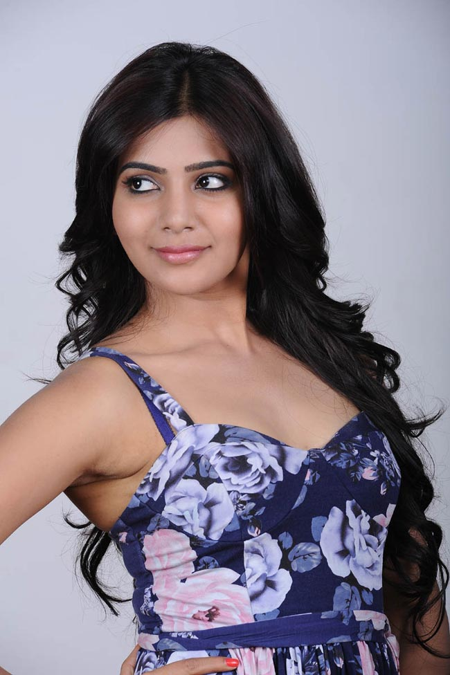 Samantha Cute Photo  Gallery in Blue Dress