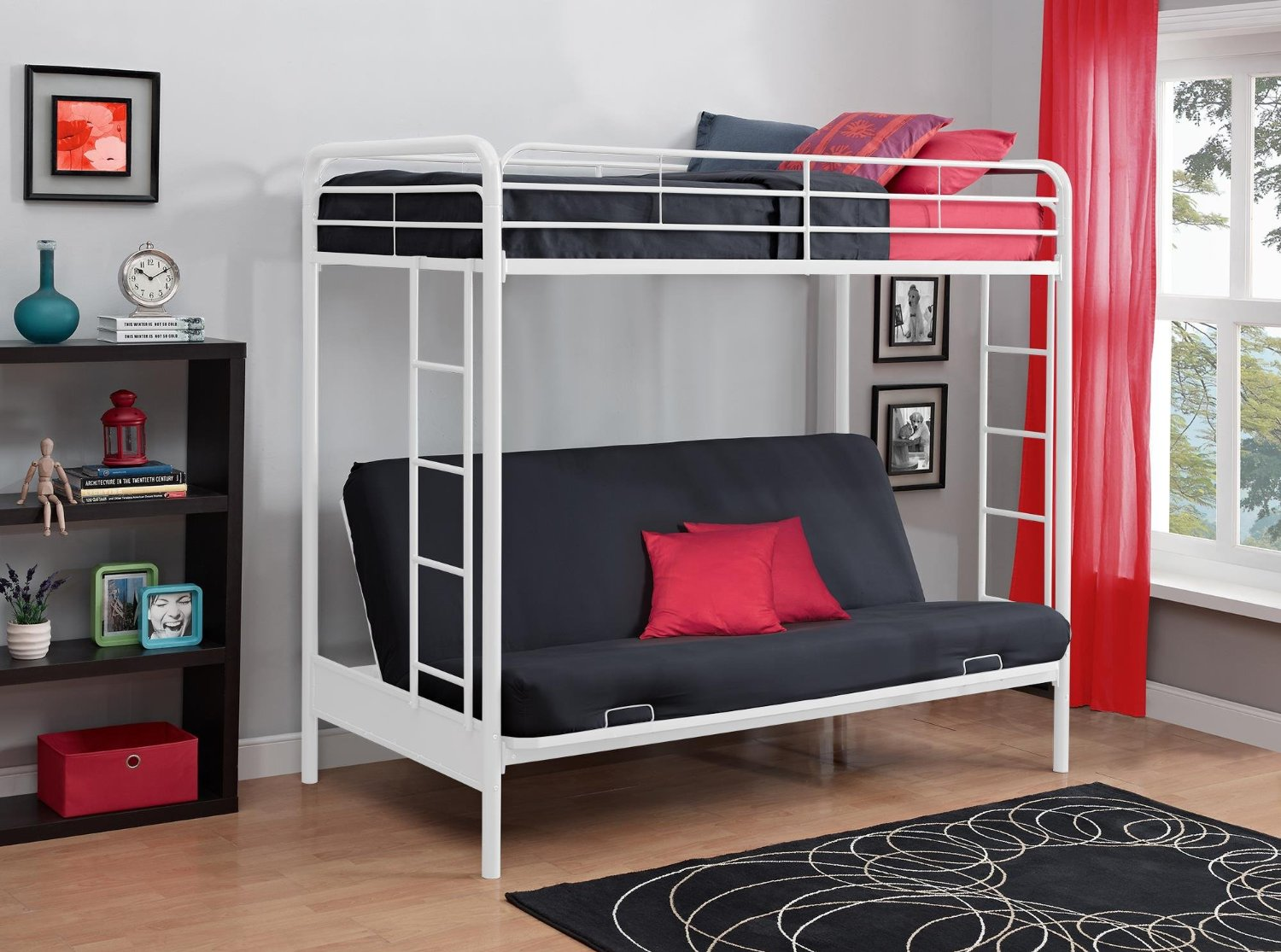 Metal  Wood Loft Beds with Sofa Underneath