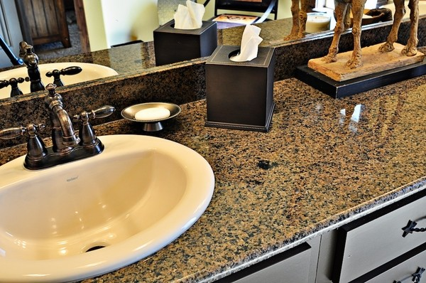 Granite Bathroom Countertops - Gold Granite White Vanity Cabinets