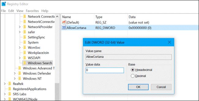 Tắt Cortana trên Windows 10 Home thông qua Registry