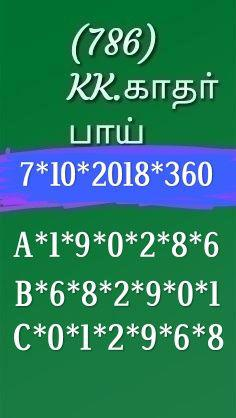 Kerala Lottery Guessing by K Kadar Bai dated 07.10.2018 Pournami RN 360