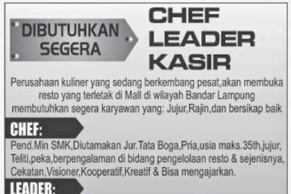 Lowongan Kerja CHEF LEADER KASIR
