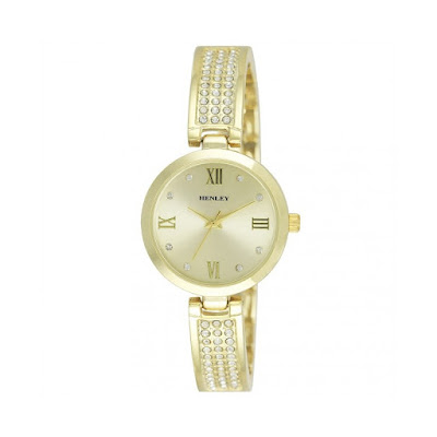 Henley Wrist Watch With Round Gold Case With Gold Face