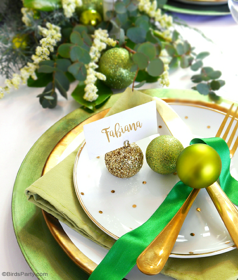 Green Amp Gold Christmas Holiday Tablescape Party Ideas