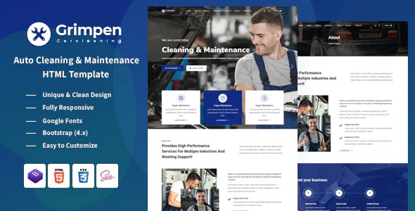 Auto Cleaning & Maintenance HTML Template