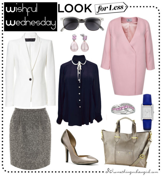 chic look for less work wear outfit with F/W 2013 trends: navy, tweed, pink coat, ecru, metallic