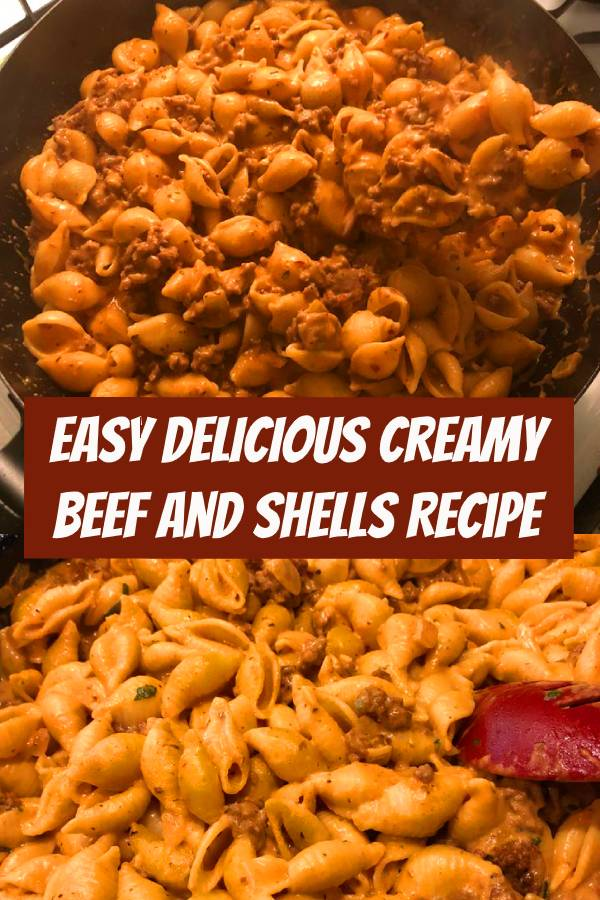 Easy Creamy Beef and Shells Recipe - A quick/easy ground beef recipe, this is a pasta dish that will be on your dinner table all week long! So creamy and so comforting! #beef #comfortfood #dinner #shells #pasta