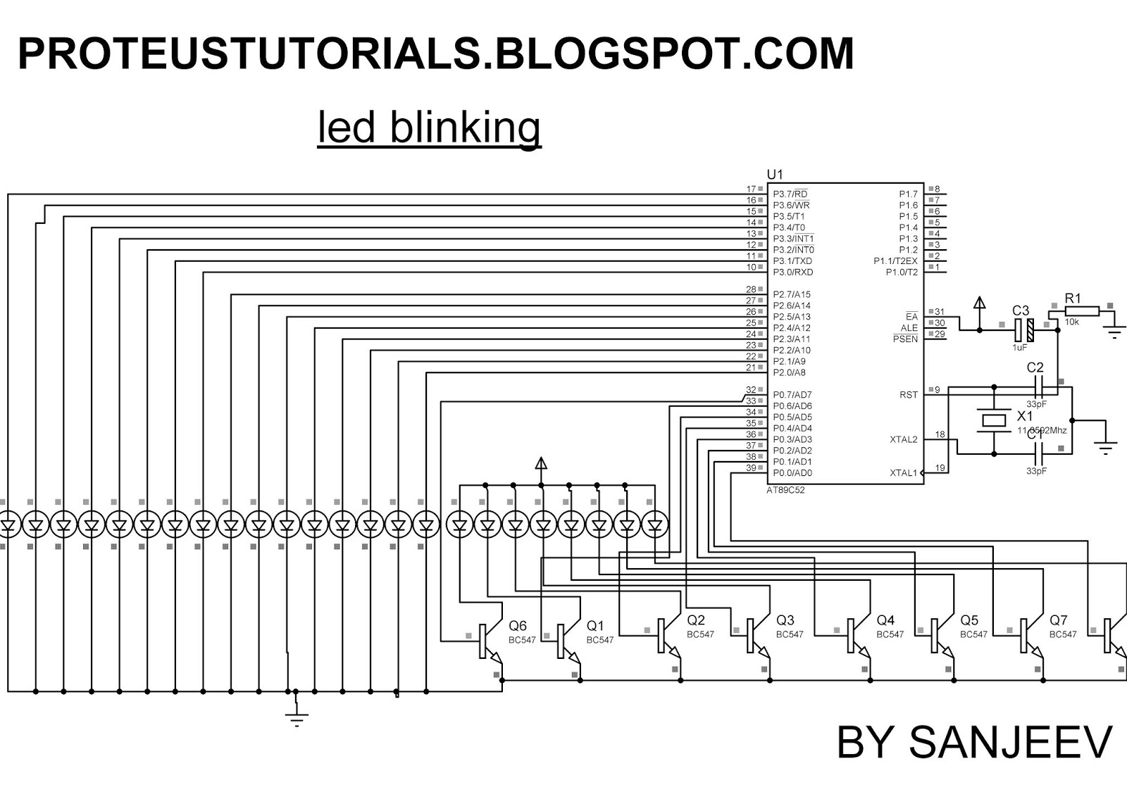 How To Blink An Led Using 8051 Microcontroller Proteustutorials Blinking Wiring Diagram The Circuit Mainly Consists Of At89c51 Belongs Family It Is 8 Bit