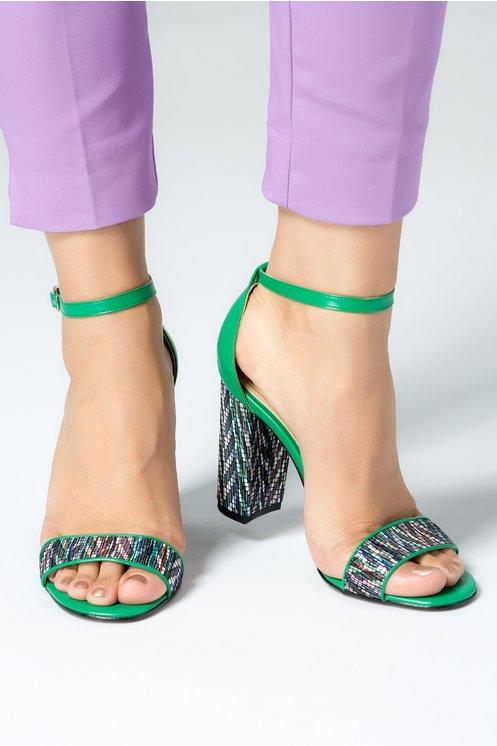 Sandale dama cu toc gros verzi cu insertii colorate piele naturala