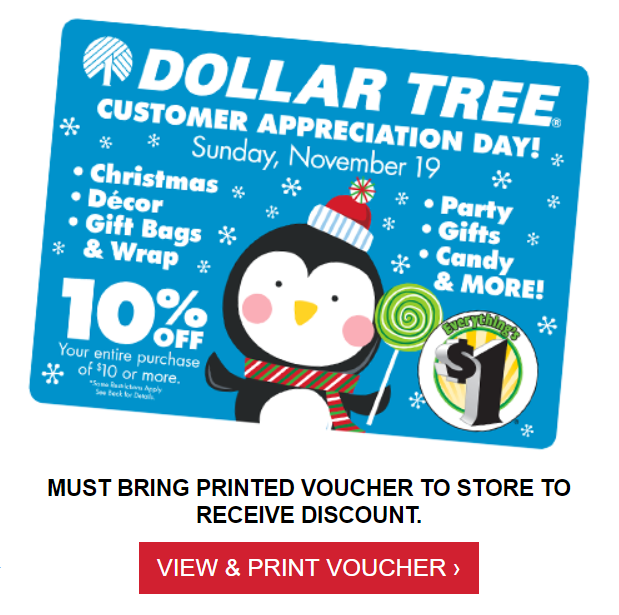 photo regarding Dollar Tree Application Printable identified as Greenback Tree: 10% Off Within Merchants November 19th (Printable