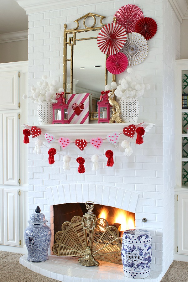 painted brick fireplace, valentine's day decorations, valentine's day mantel decorating ideas