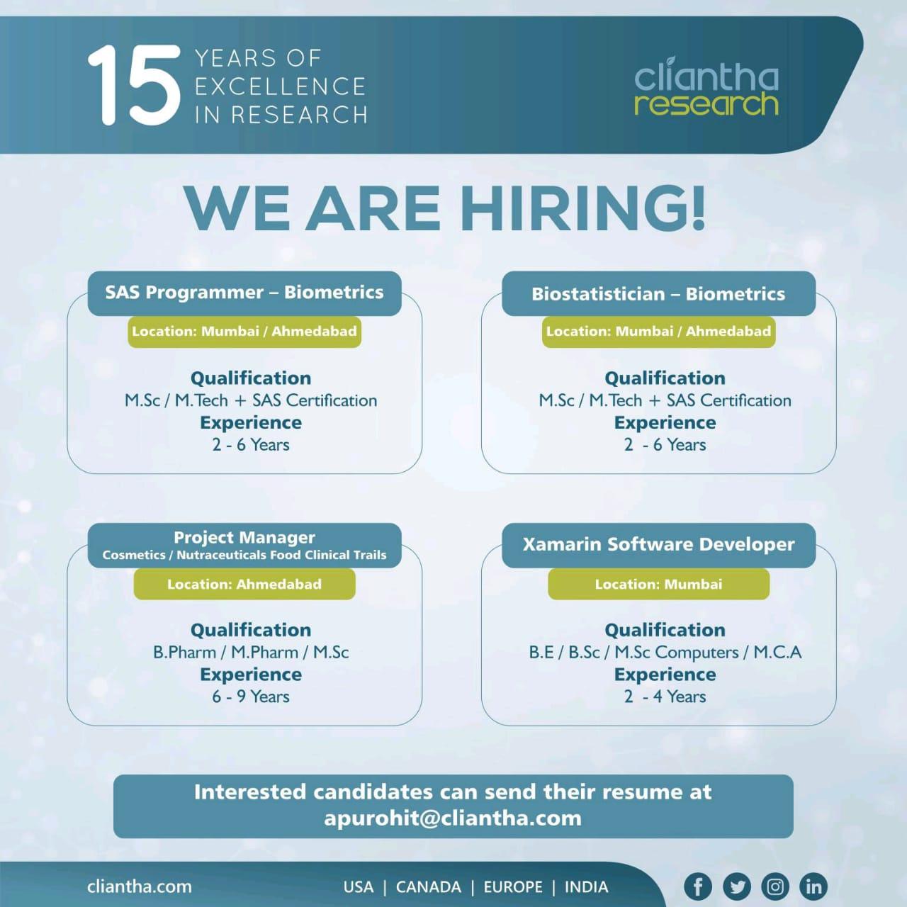 Cliantha Research Ltd – Job Opening for SAS Programmer, Biostatistician, Project Manager, Xamarin Software Developer | Apply Now