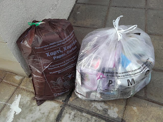 roadside recycling in Cyprus in PMD and paper bags