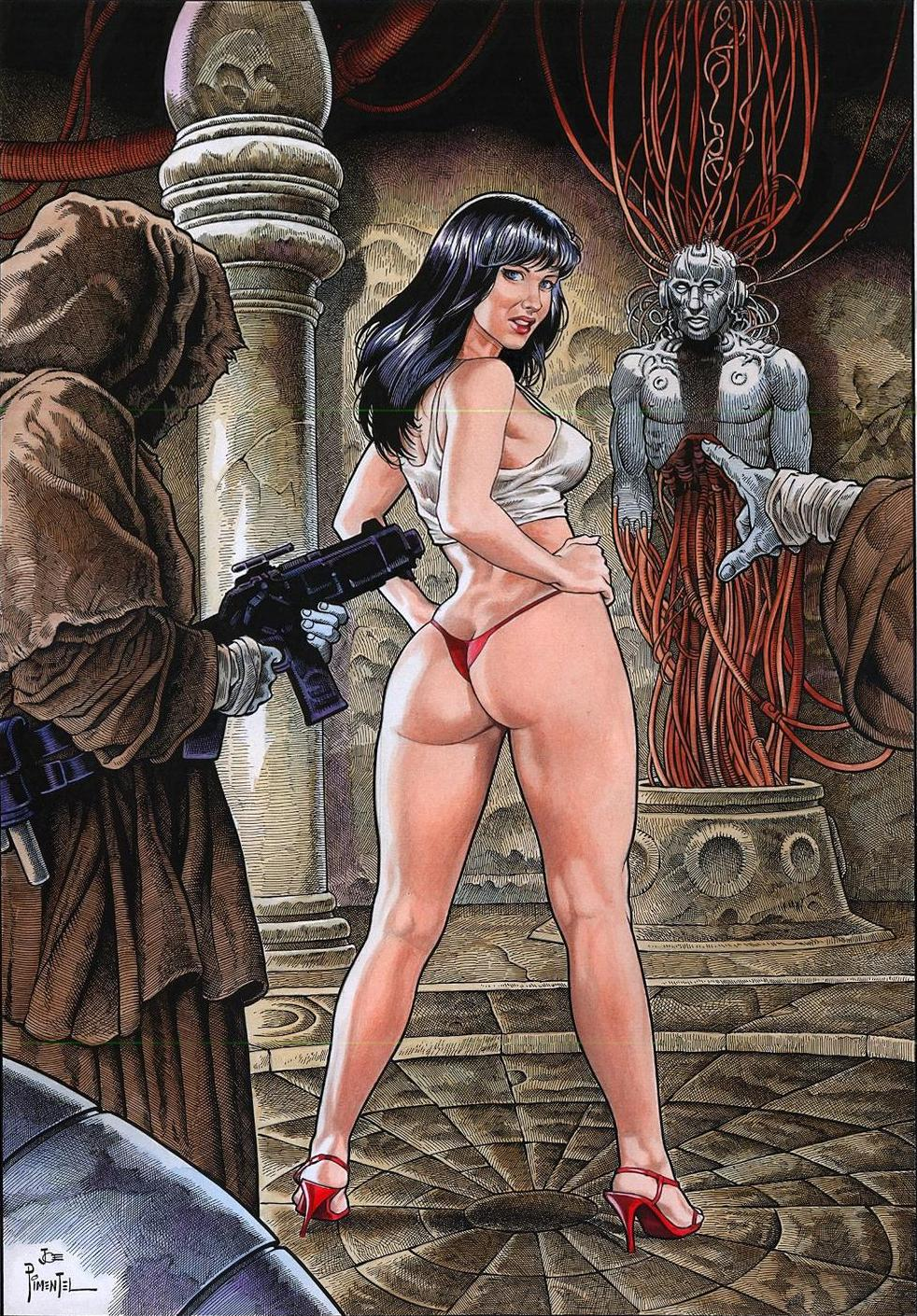 Druuna's role is that of a willing sexual object, submitting to sexual advances of all kinds with little or no complaint, other than the occasional sad pout, though she has been raped on more than one occasion in the series.