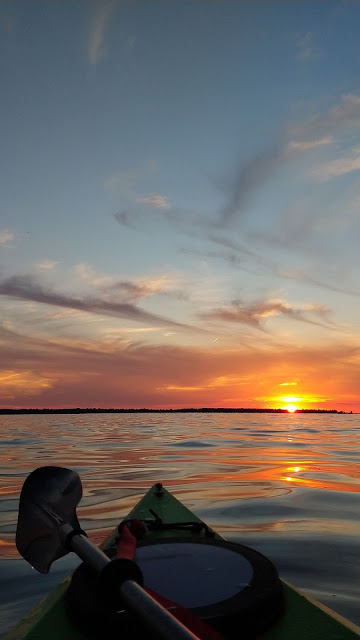 Canoeing, sea, sunset, skyline, sky, clouds