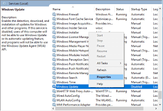 Properties Windows Update Windows 10