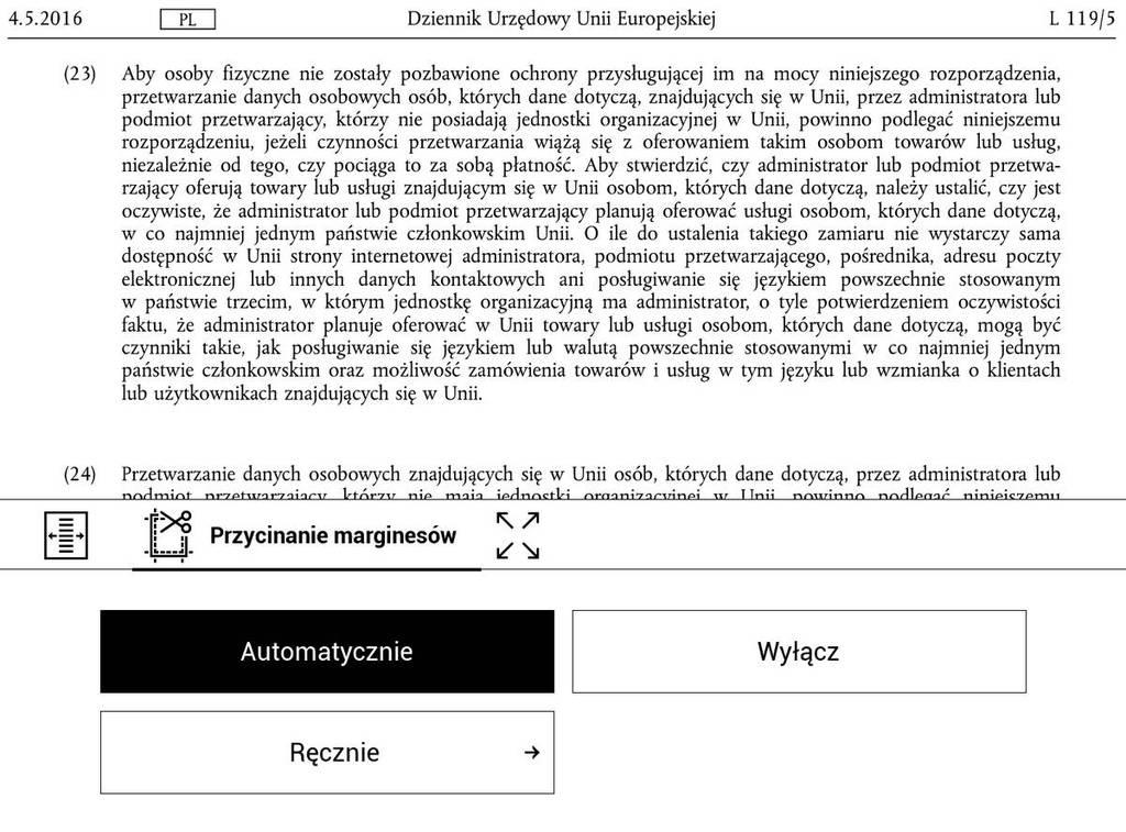 PocketBook Touch HD 3 – PDF po automatycznym przycięciu marginesów