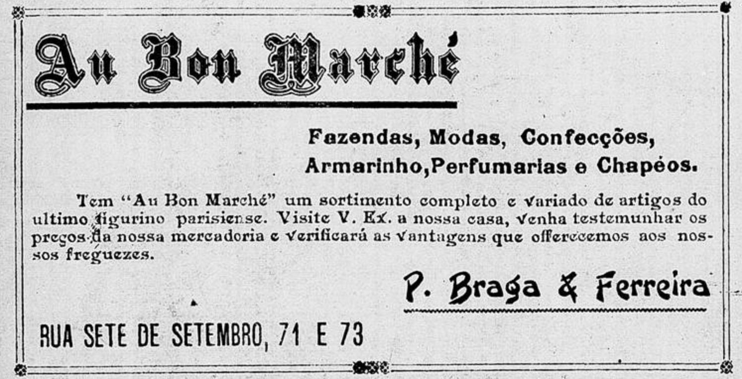 Propaganda antiga veiculada em 1908 da loja de departamentos Au Bon Marché