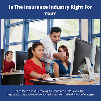 "Graphic shows teacher helping students on a computer. Graphic reads, ""Is the insurance Industry right for you?"""