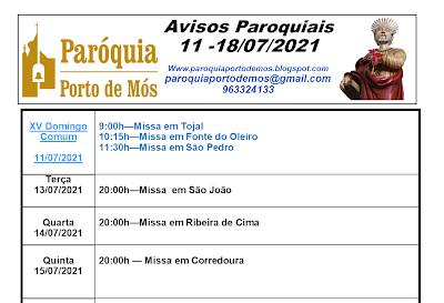 Avisos Paroquiais - 11 a 18 de Julho de 2021