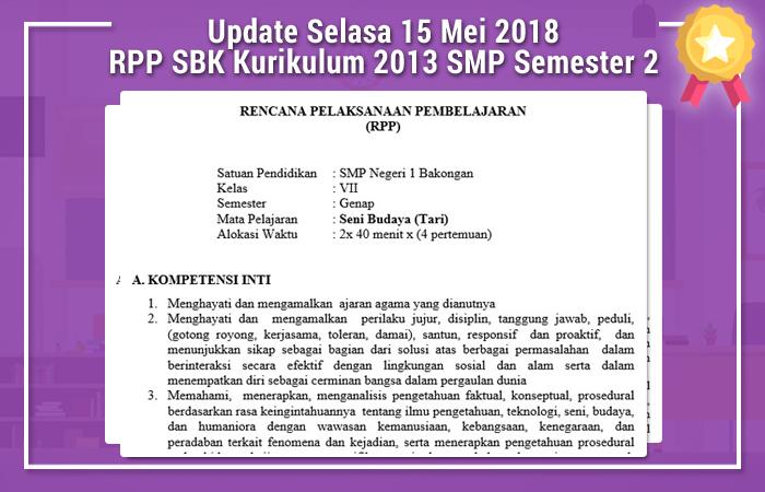 Update Selasa 15 Mei 2018 RPP SBK Kurikulum 2013 SMP Semester 2