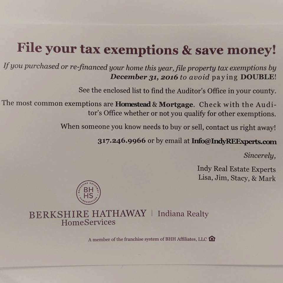 Indiana Property Tax Exemption Deadline