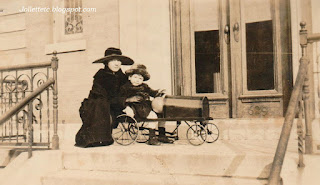 Lillie and one of the children at their home in Richmond Hill 1920 https://jollettetc.blogspot.com