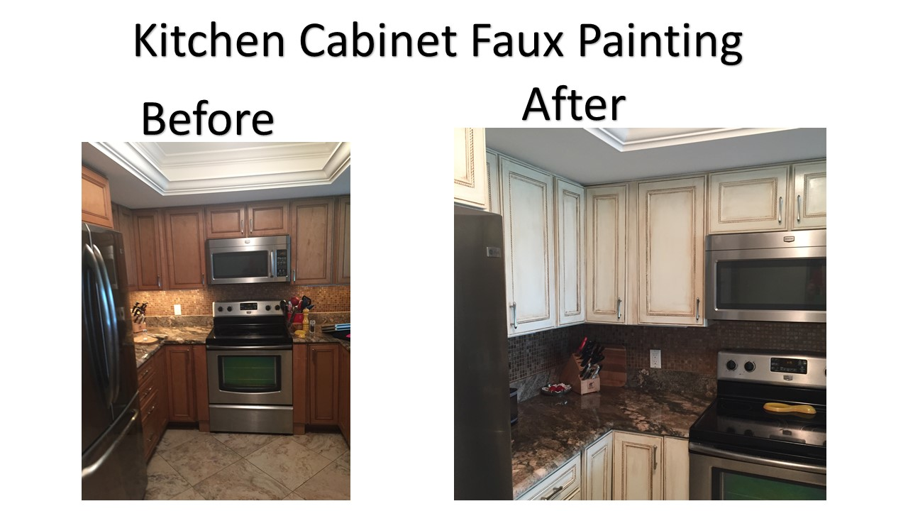 How To Paint Faux Wood Cabinets Part - 17: Faux Painting The Cabinets With A Light Creamy White Just Slightly Glazed  In Light Brown Makes The Light, Brighter, And More Inviting.