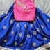 Blue Kundan Lehenga Pink Crop Top