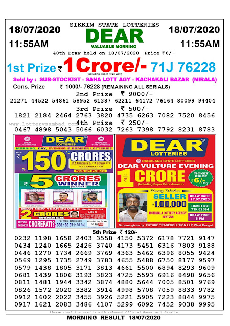 Sikkim State Lottery Sambad 18-07-2020 Today Result 11.55 AM
