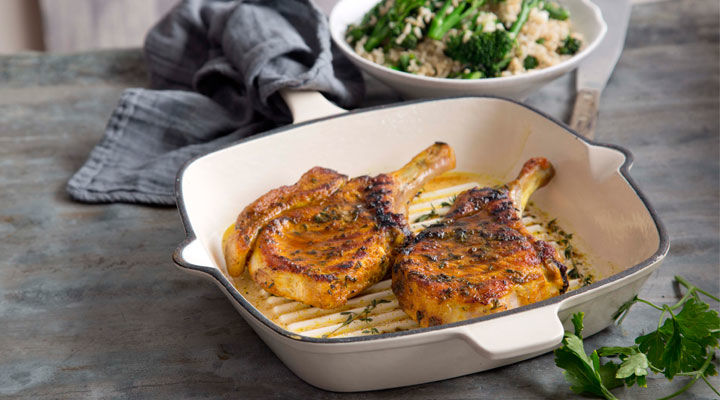 Grilled Turmeric Pork Chops with Rice Salad